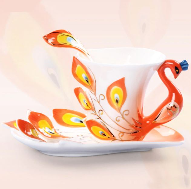 Orange Swan Tea Cups for Women-Home Decor Ceramics Creative Design Peacock Coffee Cups Ceramic 3D Enamel Porcelain Cup with Saucer and Spoon Coffee Tea Sets