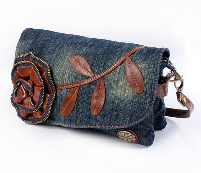 Fashionable Small Denim Purse for Your Phone Lipstick Mirror and Face Powder Leather Rose Patchwork-Borse Ragazze borse Crossbody Bag Donna Borse