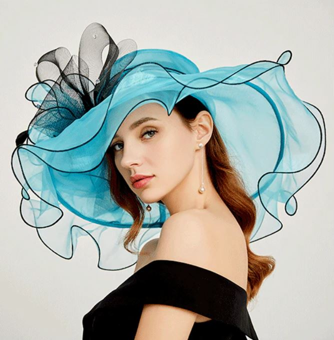 Turquoise Blue Ruffled Hats for Women Wide Brim Hats for Women Wedding Hats Fascinators for Women Ruffled Organza for Elegant Lady