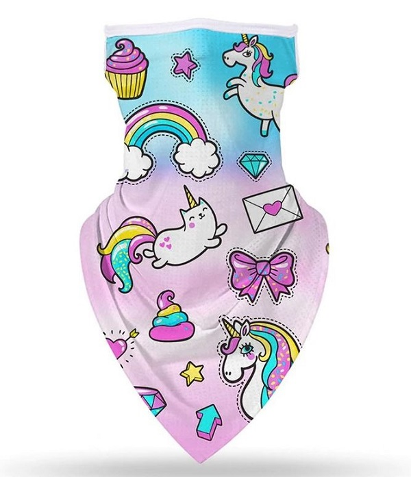 Rsslyn Masks for Girls Unicorn Facemasks for Baby Girls with Ear Hooks Mouth and Nose Cover