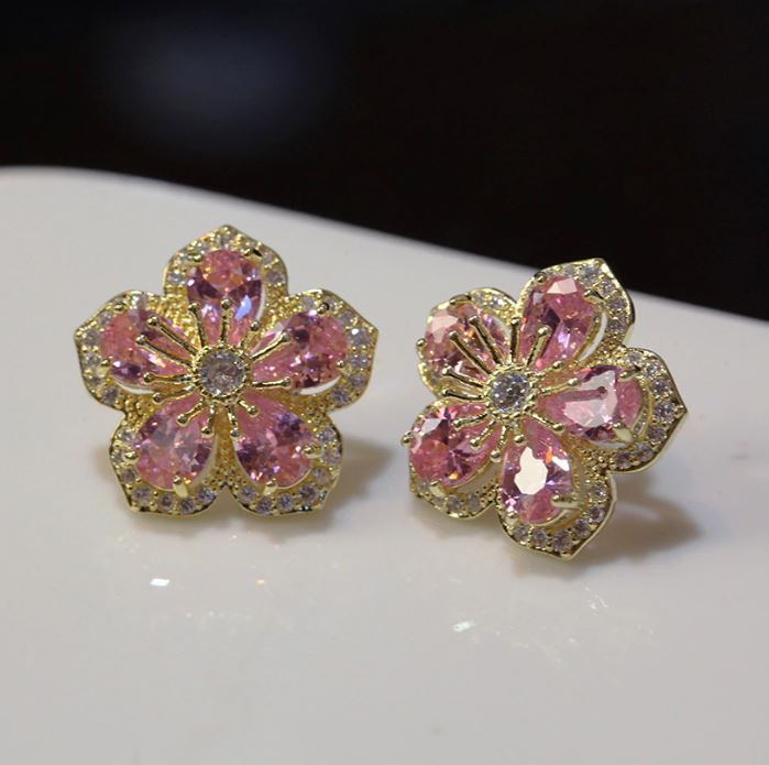 Pink Cubic Zirconia Lovely Flowers Stud Earrings Gold Plated AAA Cubic Zirconia CZ Flower Stud Earrings for Women
