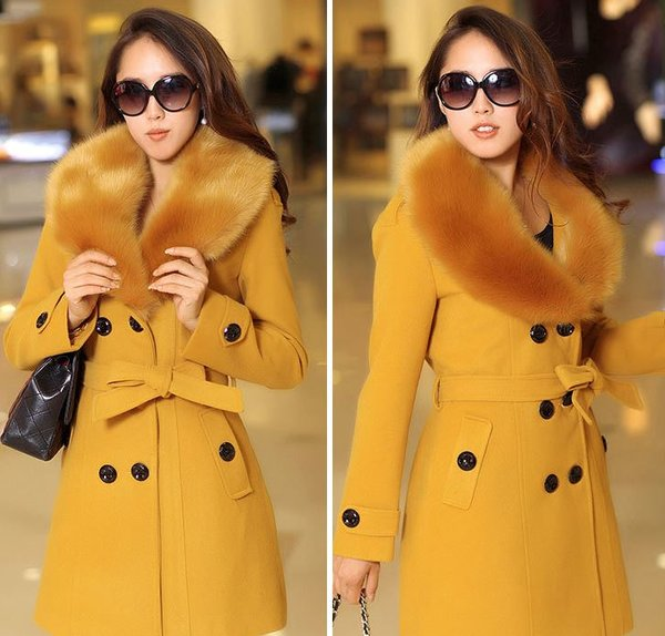 Beautiful Faux Fur Collar Golden Yellow Overcoats for Women Woolen Winter Coat Dress READY FOR SHIPPING Yellow Trench Coats for Women