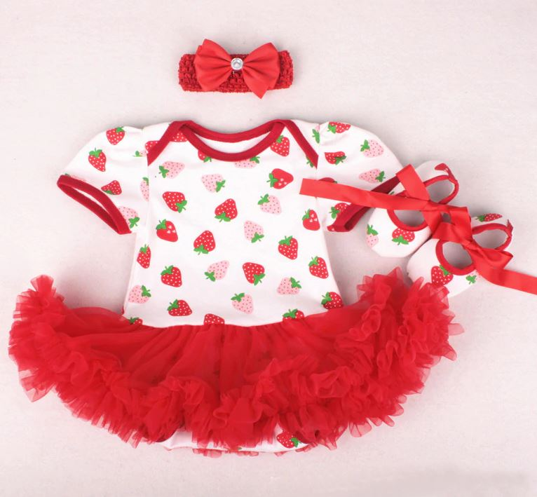 Free Shipping Strawberry Set Clothes for Newborn Strawberry Baby Dresses 1st Birthday Dresses Strawberry Baby Girls Clothing Set Strawberry Birthday Theme