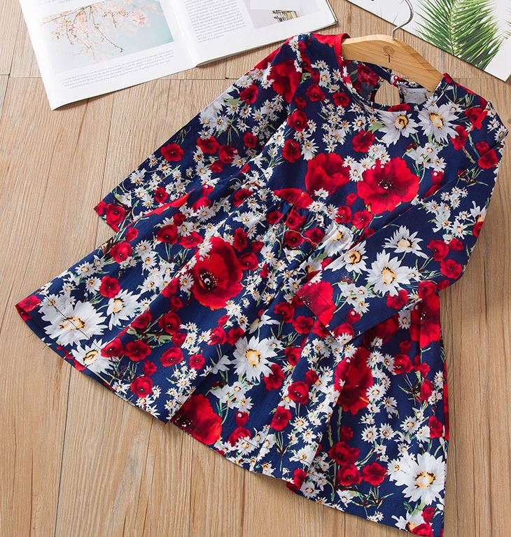 RudelynsSariSariStore.com Girls Dresses Free Headband for Navy Blue Dress for Girls Printed Red Poppies Casual Dress for Girls