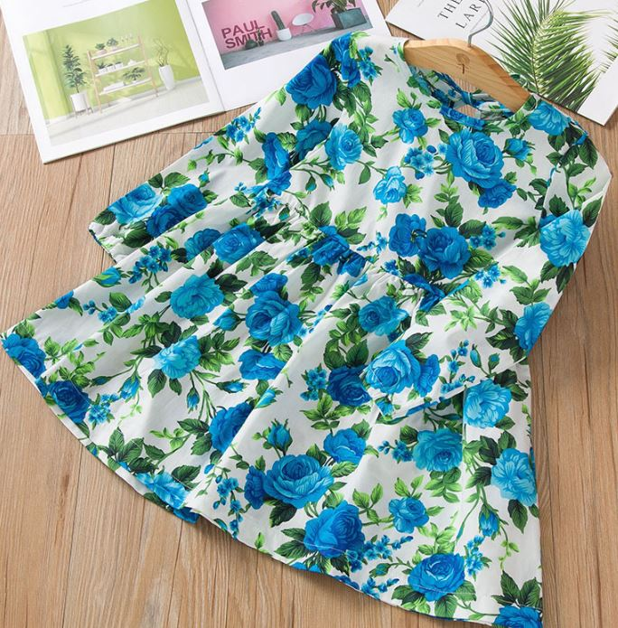 RudelynsSariSariStore.com Girls Dresses Free Headband for Pretty Blue Dress for Girls Printed Roses Casual Dress for Girls