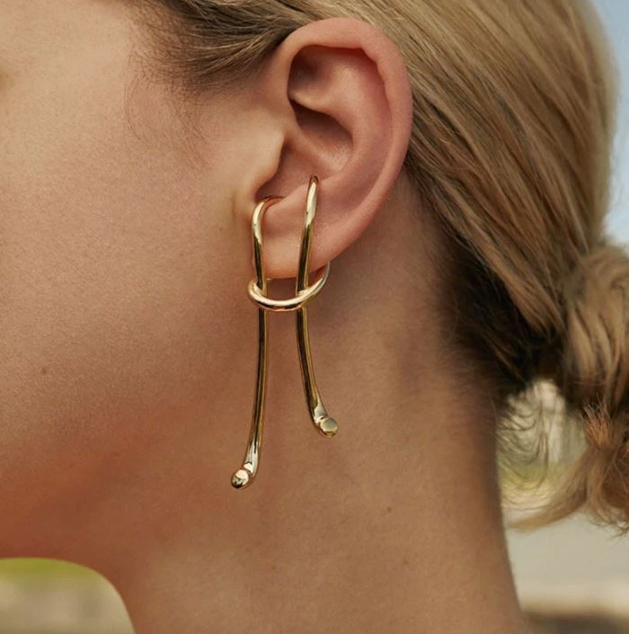 Exquisite Golden Earrings at RudelynsSariSariStore.com-New Trend Earrings and Fashion Exaggerated Ear Jewelry for Women Slip Knot Earrings