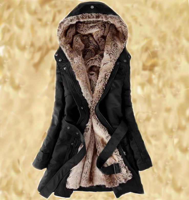 READY TO SHIP Black Parka Jacket L,M,XL,2XL with Faux Fur Lining for Women