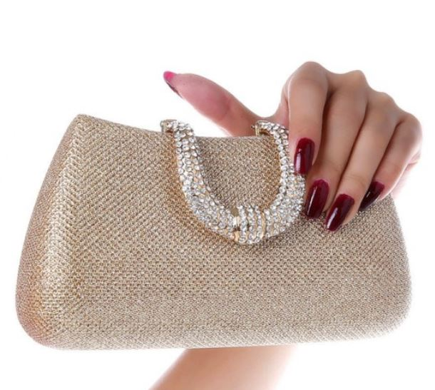 Gold Clutch Evening Purse Golden Color Bag