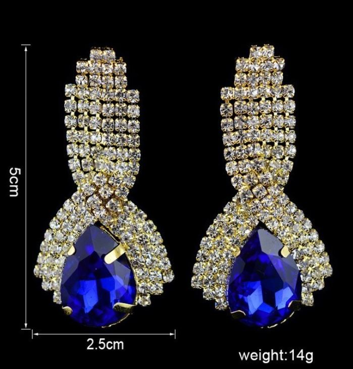 Royal Blue Earrings Gold Plated 18K Gold Plated Crystal Simulated Faux Diamond