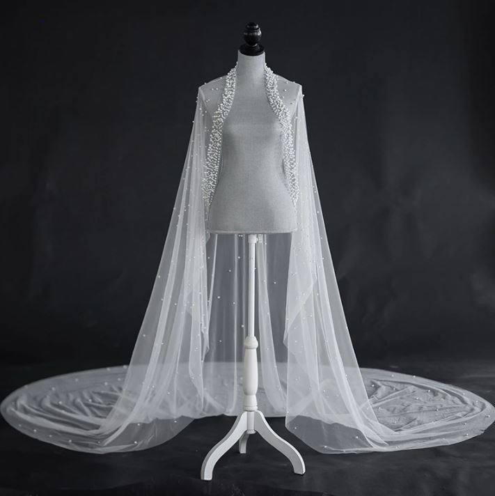 Unique and Elegant Veils Trailing Off White Long Bridal Veil Pearls Shoulder Bridal Accessories-Affordable Wedding Accessories