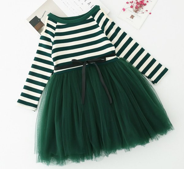 green dress for 3t4t5t christmas dress striped tutu dress birthday spring dress - Green Christmas Dress