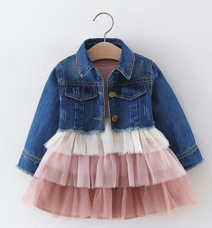 Traditional Denim Jackets for Infant Girls-RSSLyn 2pcs/Set Cropped Denim Jackets for Baby Girls Western Jacket with Matching Tutu Dress