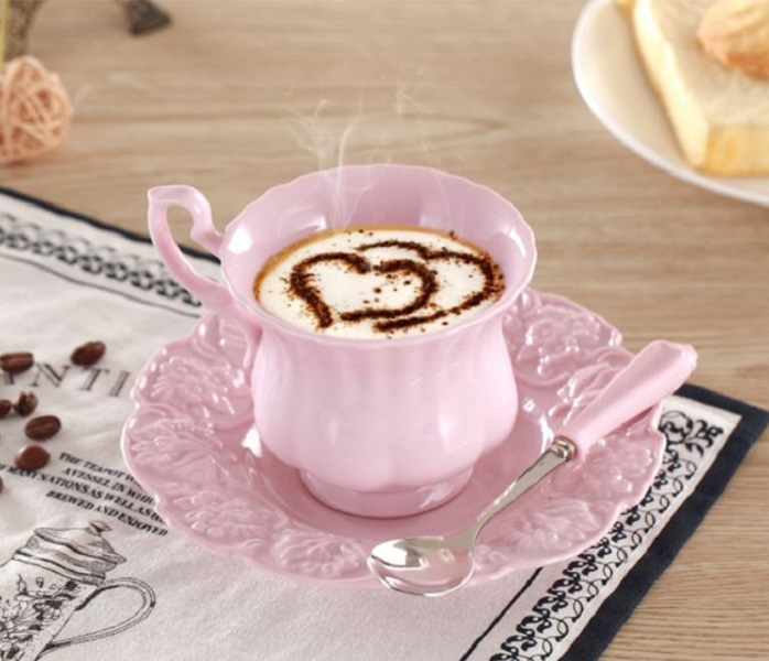 Rsslyn 3pcs/SET Elegant Pink Porcelain Tea Cup, Saucer and Spoon Gift Set Pink Kitchenware Personal Use Collection