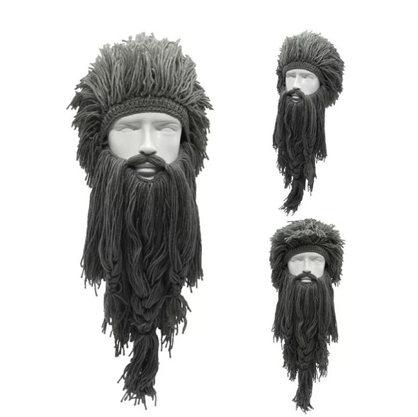 Rsslyn 3pcs/SET Crochet Viking Handmade Knitted Wig and Hat with Detachable Long Fake Beard
