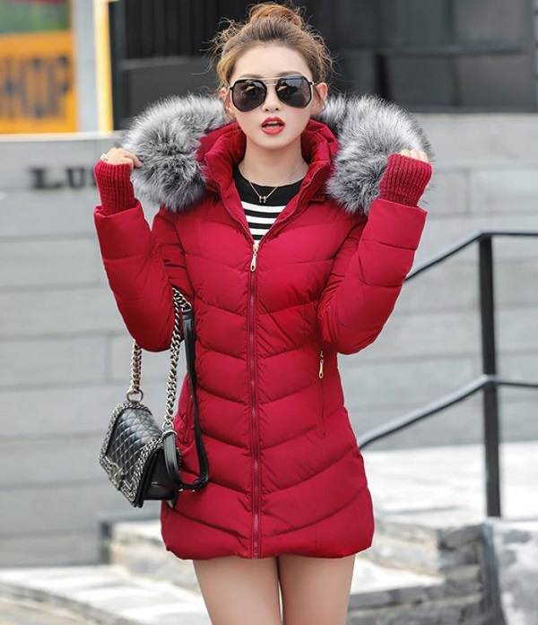 Rsslyn New Red Parka with Attached Hand Warmer Faux Fur Hood Winter Jackets for Women