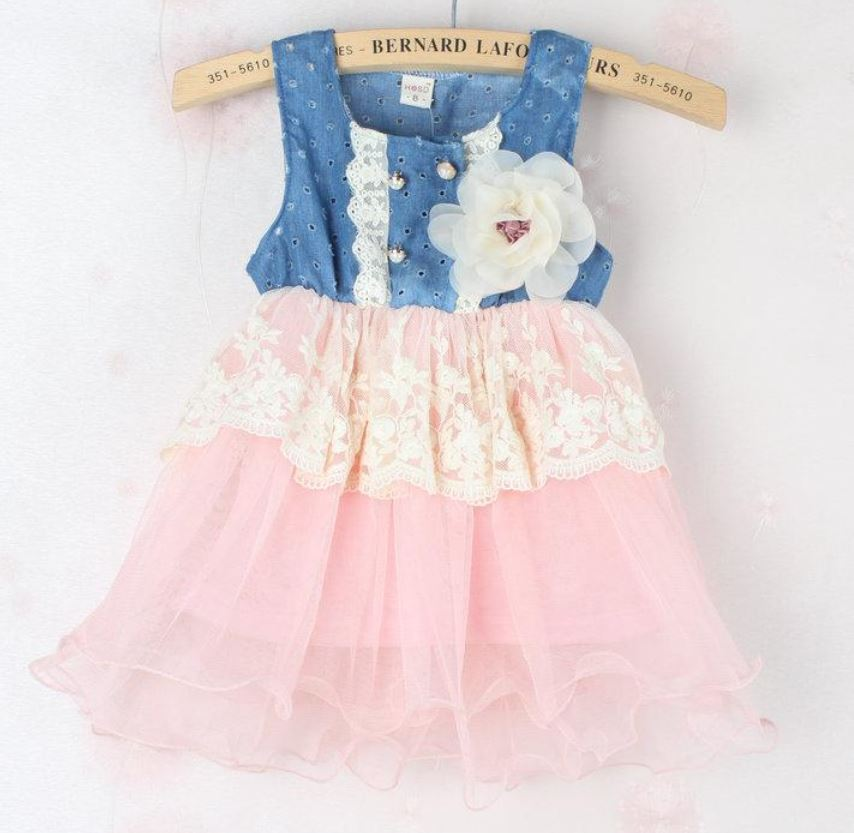 Pink Toddler Girl Denim Tutu Dress Denim White Floral Waist Lace Pink Dress