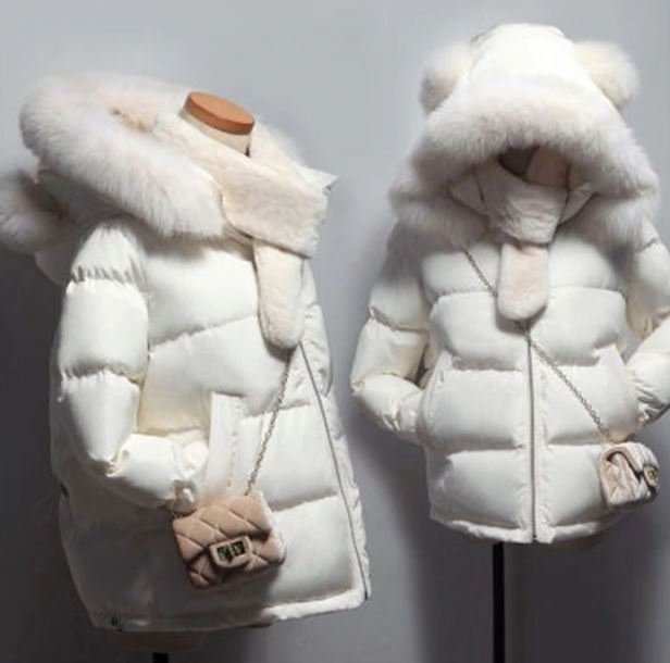 Off White Parkas for Teen Girls and Women Snow Parkas Hooded with FREE PURSE