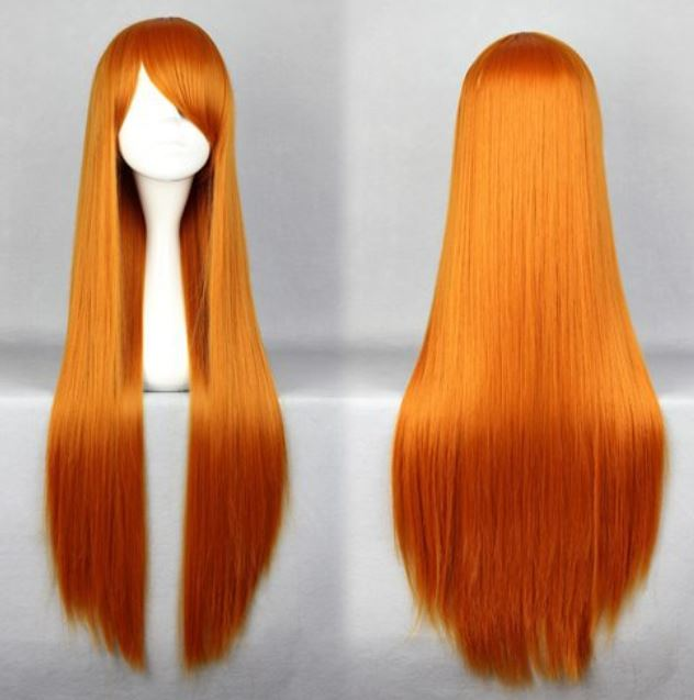 Orange Cosplay Eva Asuka Beautiful Heat Resistant Synthetic Long Orange Wig