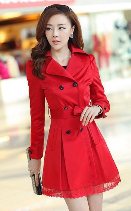 Red Coat Fashion Trench Winter Coat for Women-Women Red Coat Winter Lace Coats Polyester Winter Coats