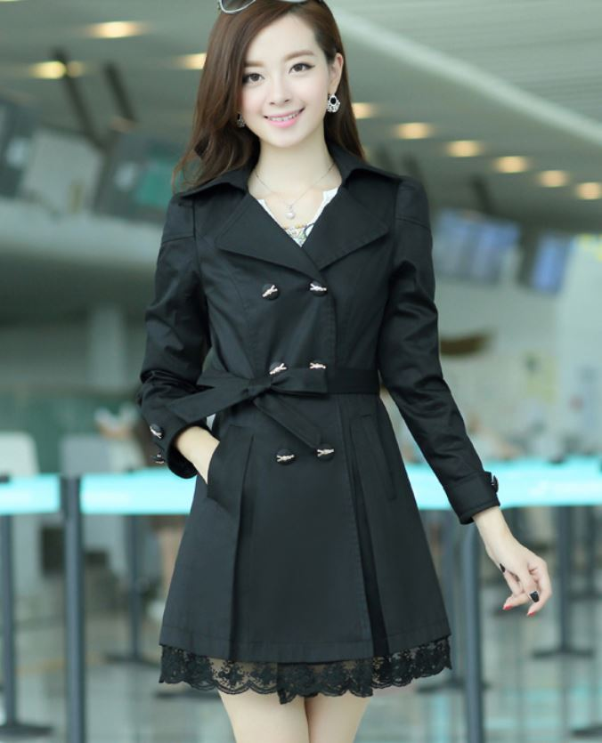 fd06059c6a388 New Black Fashion Trench Winter Coat for Women-Women Black Coat Winter Lace  Coats Polyester Winter Coats