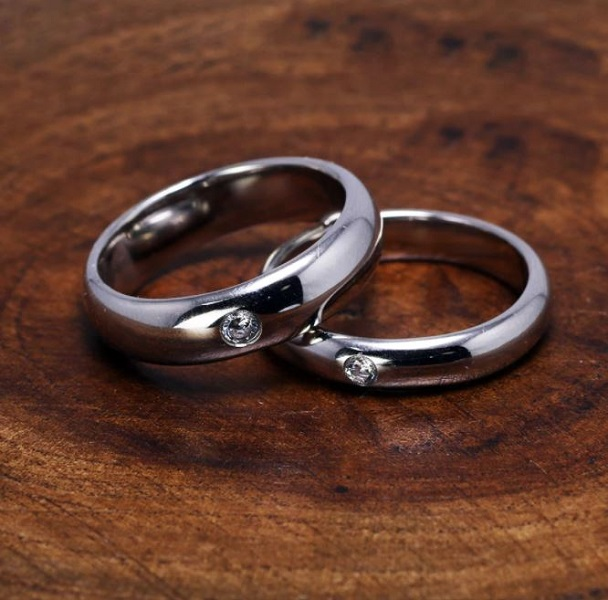 Rsslyn Couples Rings Solid 2pcs/SET Silver Rings with Small Diamond Stone 100% Silver Rings