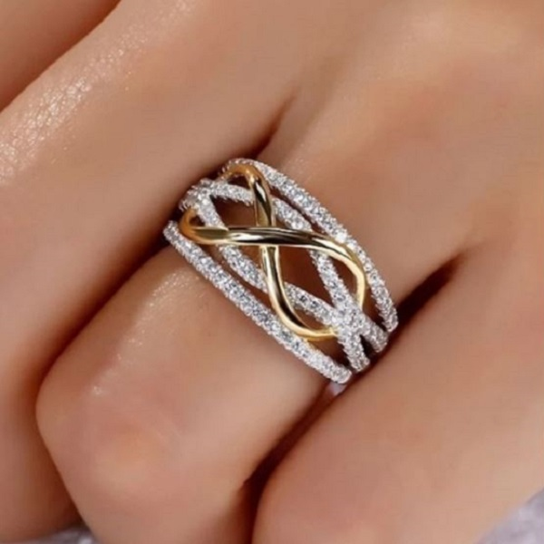 Rsslyn New Infinity Rings for Women Gold and Silver Tone Rose RSS11-2282021 Wholesale Stainless Steel Exquisite Rings