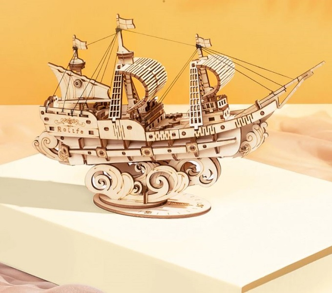 Rsslyn Vintage Sailing Ship 3D Wooden Puzzle Game Boat Assembly RSS1-3032021 Toys Personal Collection