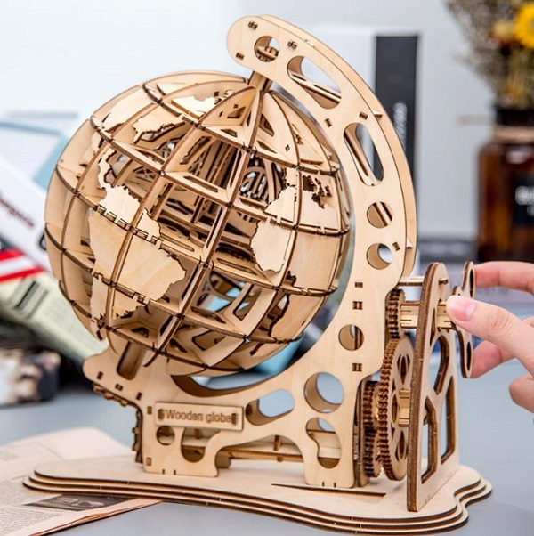 Rsslyn Rotatable 3D Globe Wooden Puzzle RSS10-3032021 DIY Puzzles for All Ages Educational Toys for Kids