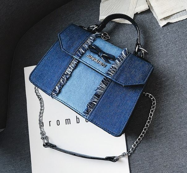 Denim Bags with Fray Design RSS Boutique I love Denim Chicks Satchels for Women Denim Purse