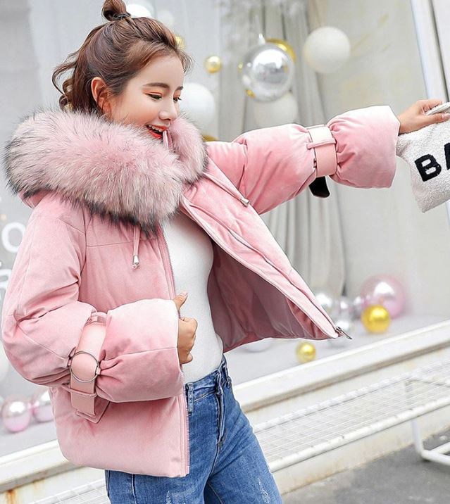 Pink Jackets Winter Coats for Women Cropped Jacket Parkas for Women Leather Belt Long Sleeves Plus Sizes