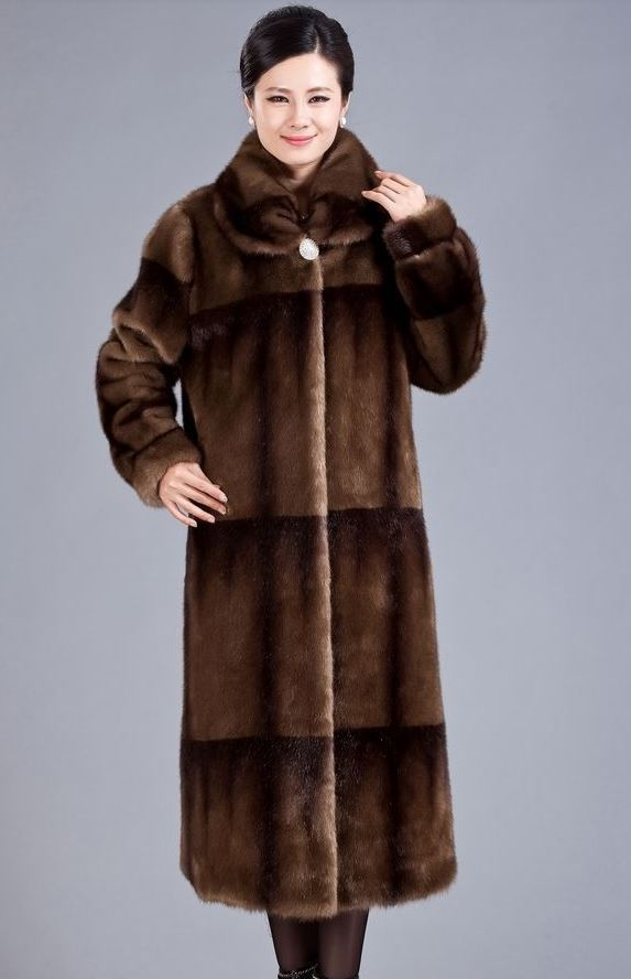 Brown Overcoat Thermal Winter Ultra Long Faux Mink Fur Overcoat