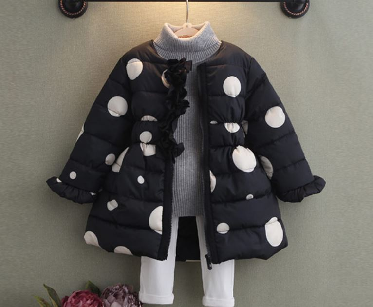 c0a9b4906 Black Parka For Girls Polka Dots Thick And Warm Black Coats on Luulla