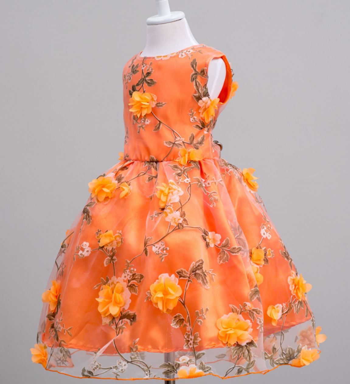 Orange Dress Pageant Dresses Embroidery Dress Free Shipping Orange Formal Dresses for Girls