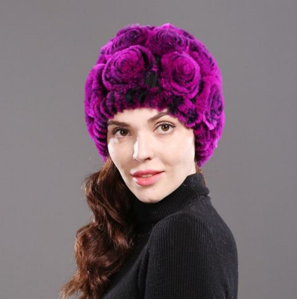 Rsslyn Luxury Rex Rabbit Fur Winter Hats Purple Magenta Color Rose Pattern 100% Genuine Rex Rabbit Fur Hats