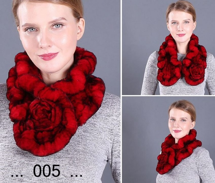 Rsslyn Real Rex Rabbit Fur Red Scarves with Rose Very Soft Material and Warm Neck Warmers for Elegant Lady Red Ruffle Mufflers