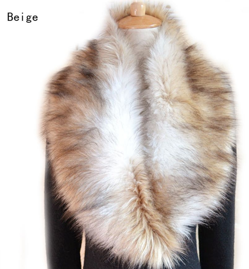 Beige Winter Faux Fur Collar Scarf Warm Shawl Wrap Cape-Super Soft Cape Collar