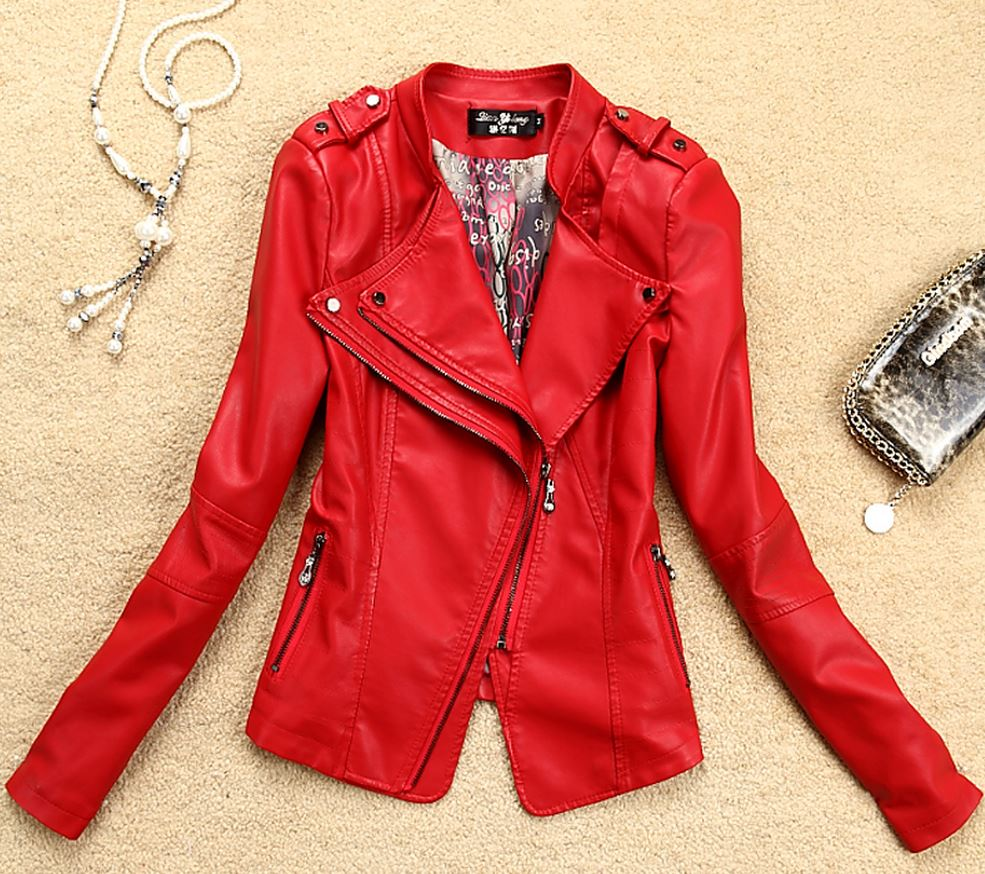 Red Leather Coat Motorcycle Leather Jacket for Women-