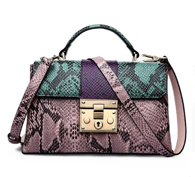 Snake Pattern Bags for Women Green Purse for Women Genuine Leather Tote Bags