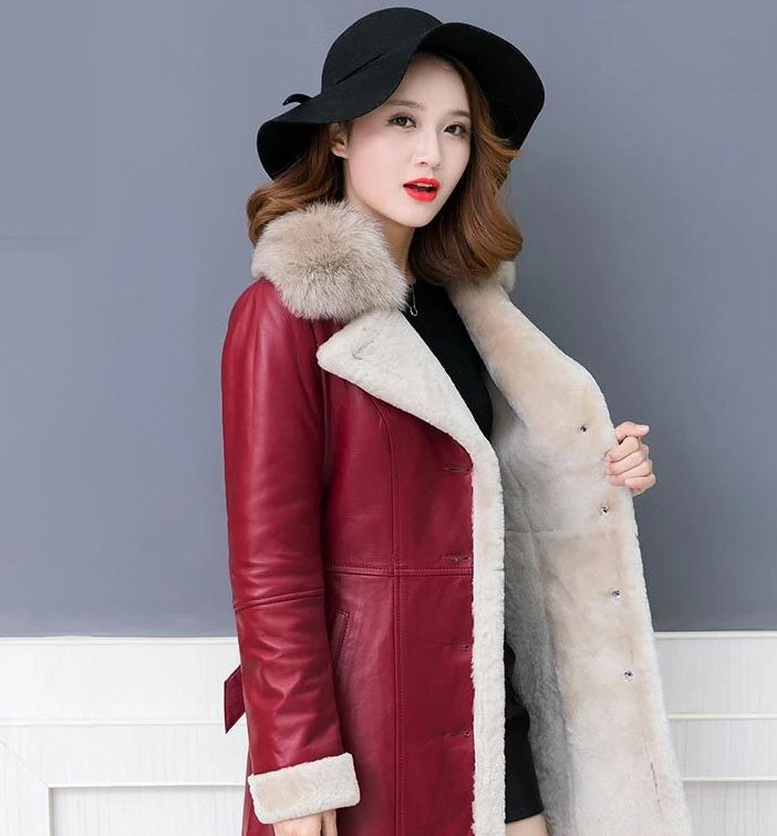 Slim Fit Red Wool Overcoats Luxury Leather Coats for Women Sheepskin Red Leather Jackets