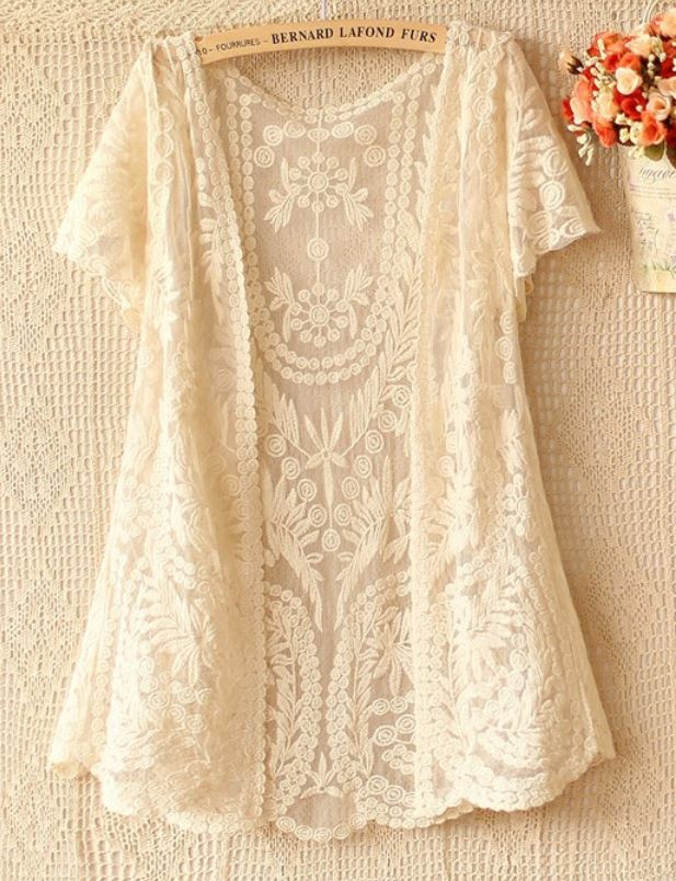 Lace Cardigan Bolero Shrug Off White Lace Crochet Short Sleeve ...