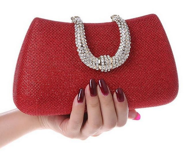 Red Purse Gold Evening Clutch For Women Bridal
