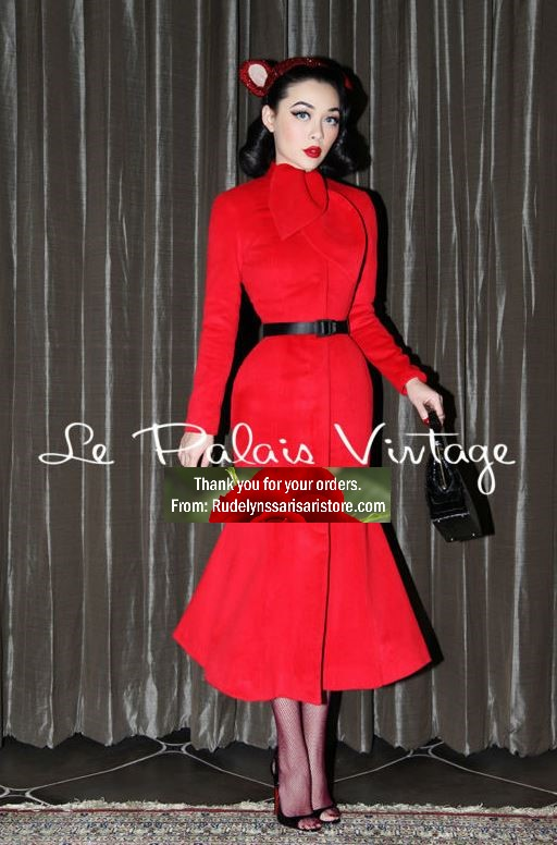 New Trendy Red Trench Coats for Women Leaf Bow Collar New Fashion World for Women Winter Coats FREE BLACK BELT