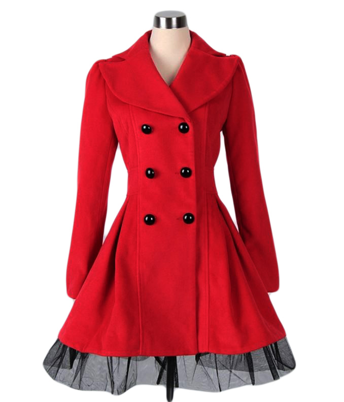 High Quality Wool Red Coat Fashion Trench Winter Coat for Women-Women Red Coat Winter Lace Coats