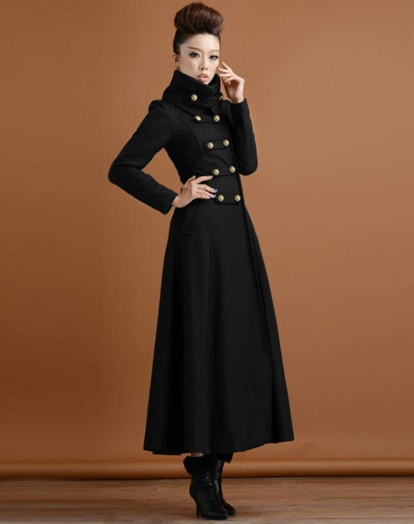 Rsslyn New Black Long Coats Turtleneck Winter Coats for Women with Military Buckles Black Overcoats for Women
