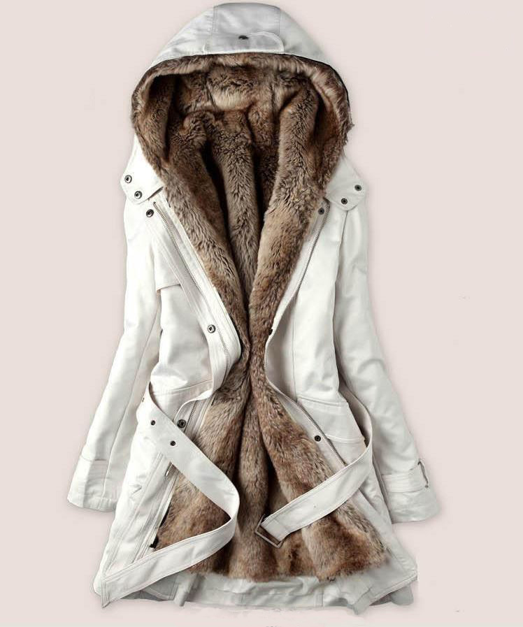 4313e769ee13 READY FOR SHIPPING Fur Coats White Parka Jacket with Super Smooth Thick  Faux Fur Lining for