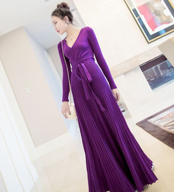 1fc3466bc6ea Purple Maxi Dress for Women Real Color Long Sleeve Winter Fall Maxi Dresses  Thick and Warm Dresses