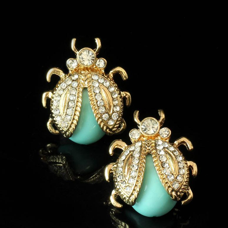 Golden Mint Green Stud Earrings for Teenage Girls FREE SHIPPING Insects Mintgreen Spriders Costume Earrings for Women
