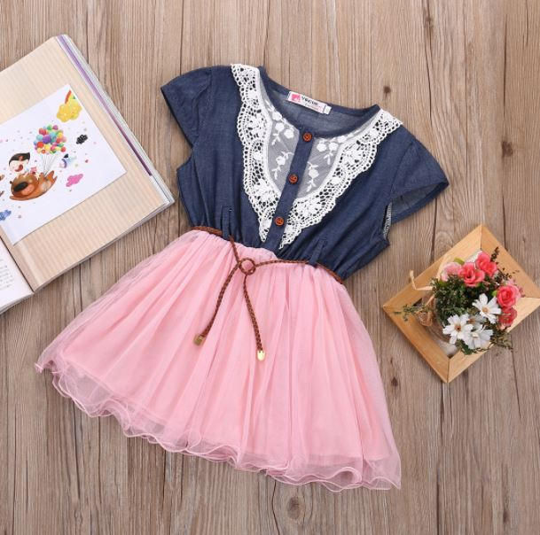 3a6e74e0eaa Pink Denim Dress Barn Wedding Outfit For Cowgirl Girls on Luulla