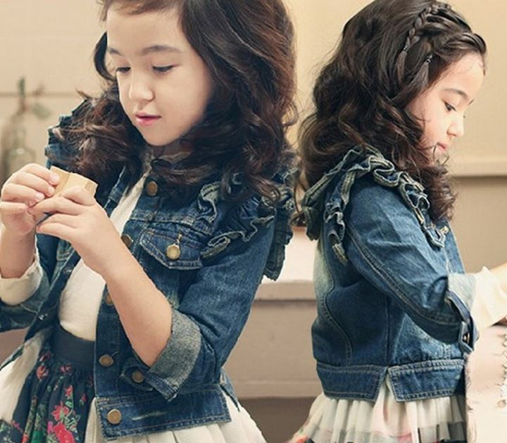 Girls Denim Jacket with Pearls and Ruffles for Toddler Girls