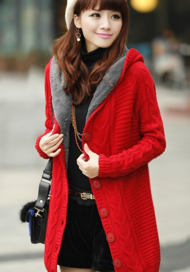 READY FOR SHIPPING RED Cardigan with Super Smooth Faux Fur Lining Red Cotton Sweaters Pullovers